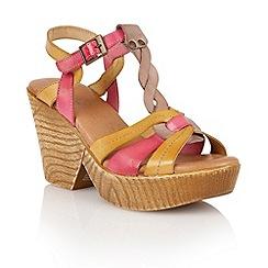 Lotus - Beige multi leather 'Burgos' wedge sandals