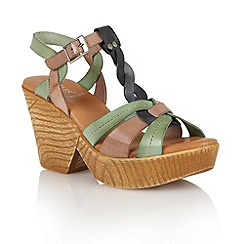 Lotus - Blue multi leather 'Burgos' wedge sandals