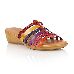 Lotus - Red multi leather 'Castello' open toe sandals