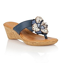 Lotus - Blue navy multi 'Polsa' wedge sandals