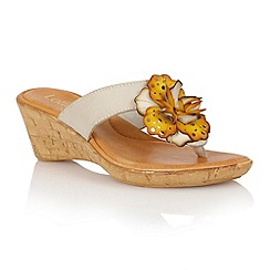 Lotus - Stone yellow multi 'Polsa' wedge sandals