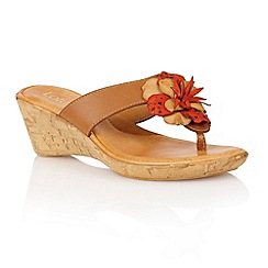 Lotus - Tan orange multi 'Polsa' wedge sandals
