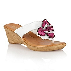Lotus - White fuchsia multi 'Polsa' wedge sandals