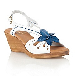 Lotus - Blue white leather 'Treviso' wedge sandals