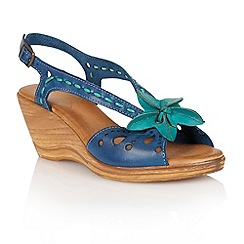 Lotus - Navy green leather 'Treviso' wedge sandals