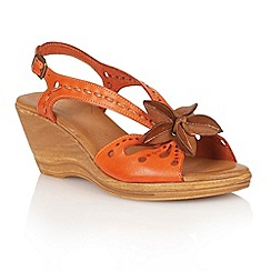 Lotus - Orange tan leather 'Treviso' wedge sandals