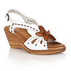 Lotus - White tan leather 'Treviso' wedge sandals