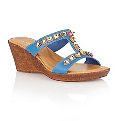 Lotus - Blue leather 'Loretta' wedge sandals