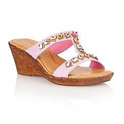 Lotus - Lilac leather 'Loretta' wedge sandals