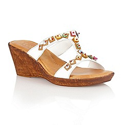 Lotus - White leather 'Loretta' wedge sandals