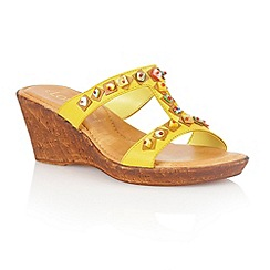 Lotus - Yellow leather 'Loretta' wedge sandals
