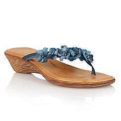 Lotus - Blue leather 'Florence' toe post sandals