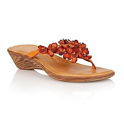 Lotus - Orange leather 'Florence' toe post sandals