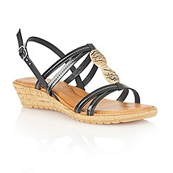 Lotus - Black natural 'Leona' open toe sandals