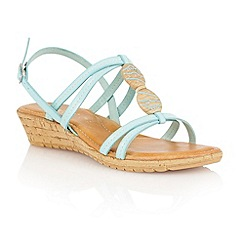 Lotus - Pale blue natural 'Leona' open toe sandals