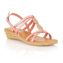 Lotus - Coral natural 'Leona' open toe sandals