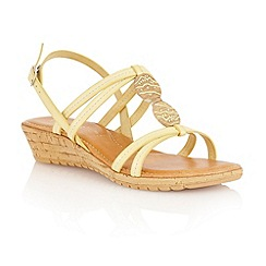 Lotus - Yellow natural 'Leona' open toe sandals