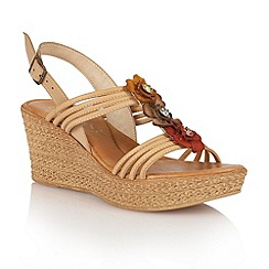 Lotus - Natural multi 'Selina' wedge sandals