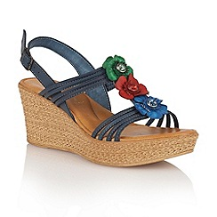 Lotus - Navy multi 'Selina' wedge sandals