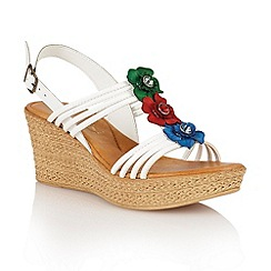 Lotus - White multi 'Selina' wedge sandals