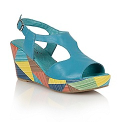 Lotus - Turquoise leather 'Dandy' wedge sandals