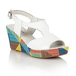 Lotus - White leather 'Dandy' wedge sandals