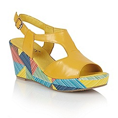 Lotus - Yellow leather 'Dandy' wedge sandals