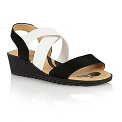 Lotus - Black multi suede 'Nettie' open toe sandals