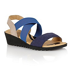 Lotus - Blue multi suede 'Nettie' open toe sandals