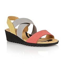 Lotus - Coral multi suede 'Nettie' open toe sandals
