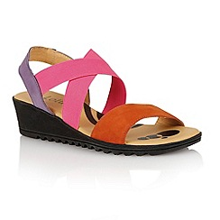 Lotus - Orange multi suede 'Nettie' open toe sandals