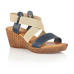 Lotus - Navy beige leather elastic 'Emiliano' wedge sandals