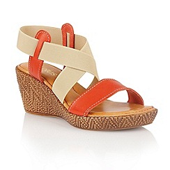 Lotus - Red beige leather elastic 'Emiliano' wedge sandals