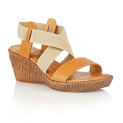 Lotus - Tan beige leather elastic 'Emiliano' wedge sandals