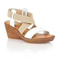 Lotus - White beige leather elastic 'Emiliano' wedge sandals