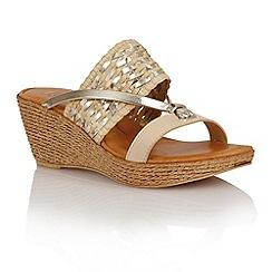 Lotus - Beige platino weave 'Fabrizia' wedge sandals
