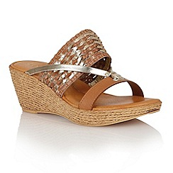 Lotus - Tan platino weave 'Fabrizia' wedge sandals