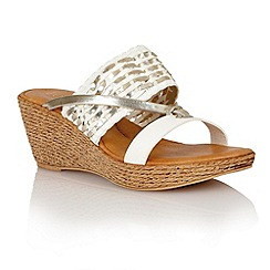 Lotus - White platino weave 'Fabrizia' wedge sandals
