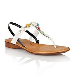 Lotus - Black shiny white pearl 'Clare' toe post sandals