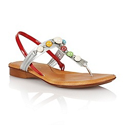 Lotus - Red shiny silver 'Clare' toe post sandals