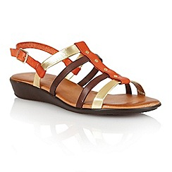 Lotus - Orange multi leather 'Lucca' open toe sandals