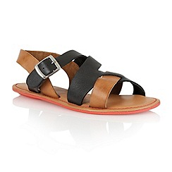 Lotus - Black tan leather 'Pierce' open toe sandals