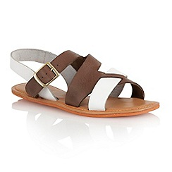 Lotus - Brown white leather 'Pierce' open toe sandals