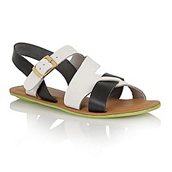 Lotus - White navy leather 'Pierce' open toe sandals