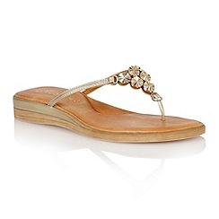 Lotus - Gold metallic 'Stelia' toe post sandals