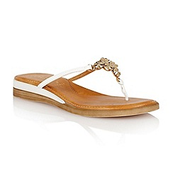 Lotus - White matt 'Stelia' toe post sandals