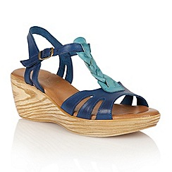 Lotus - Blue turquoise leather 'Parmaggiano' wedge sandals
