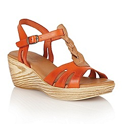 Lotus - Orange tan leather 'Parmaggiano' wedge sandals