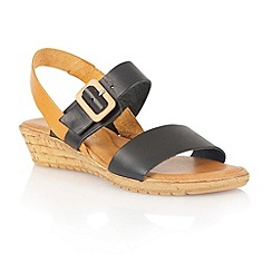 Lotus - Black tan leather 'Banos' open toe sandals