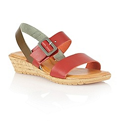 Lotus - Red olive leather 'Banos' open toe sandals